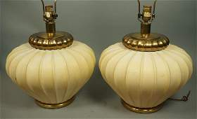 Pr CHAPMAN Brass and Cream Paint Table Lamps Mel