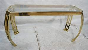Contemporary Brass  Glass Hall Console Table Pa