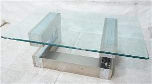 Paul Evans style Cityscape coffee table. Chrome a