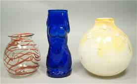 3pc Art Glass Lot 1 STEVENLUNDBERG Glass Cobalt