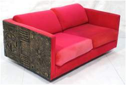 PAUL EVANS style Sculpted Bronze Love Seat Sofa C