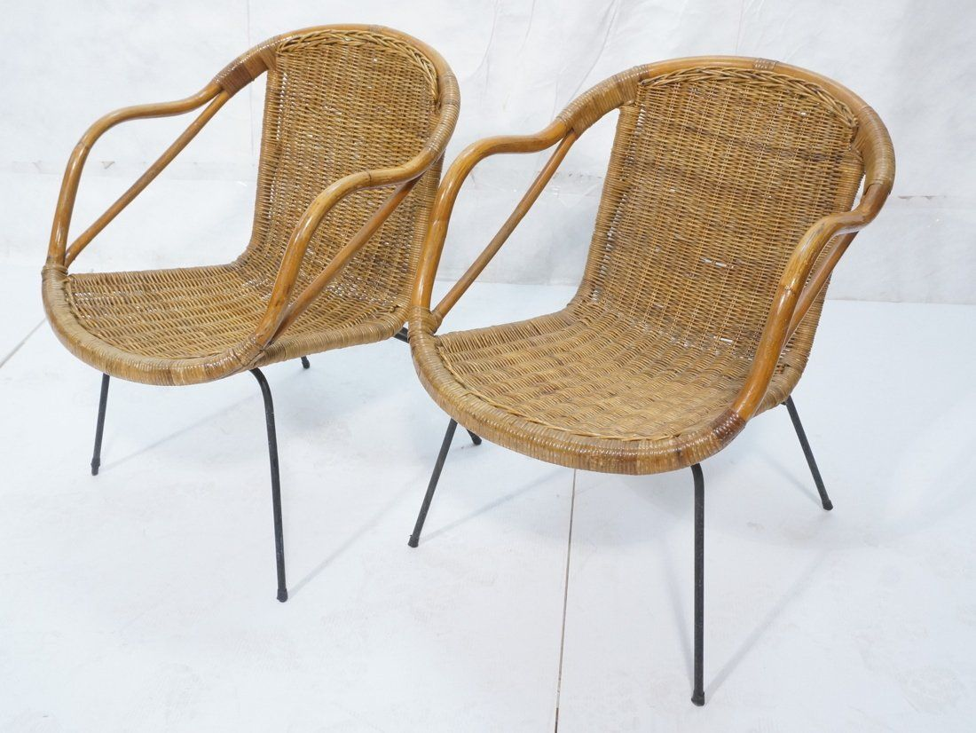 Pair Of Wicker Arm Chairs With Wrought Iron Legs Apr 28 2015 Uniques Antiques Inc In Pa