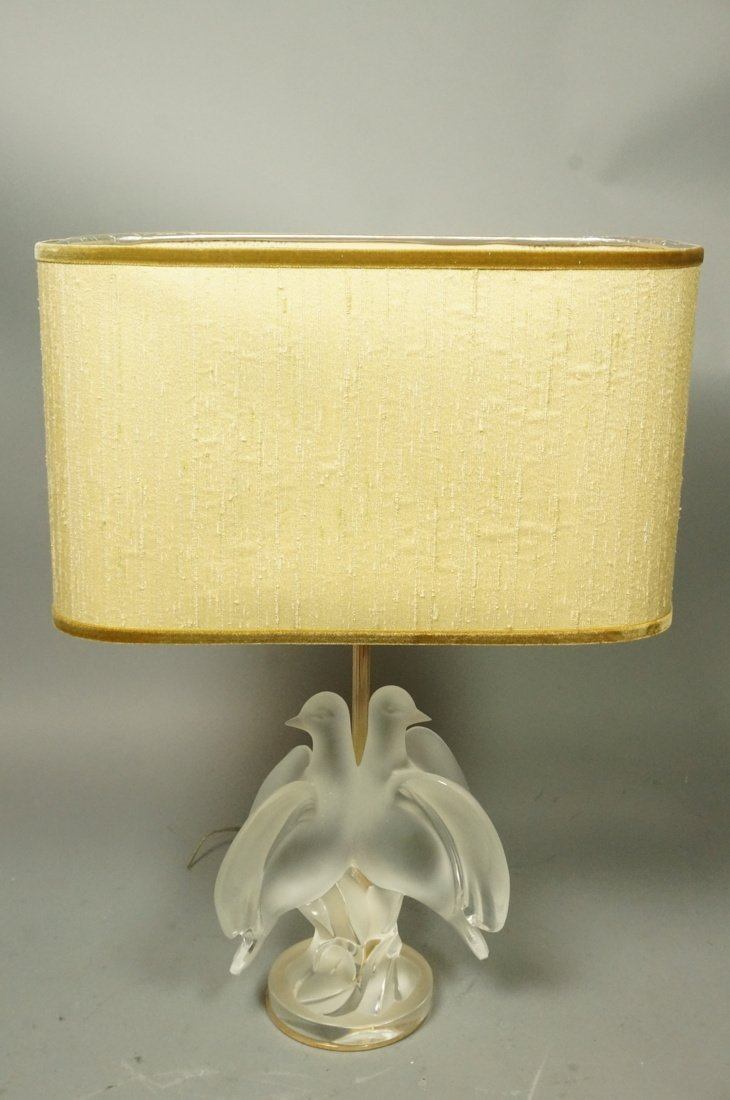 Frosted Lalique crystal Dove sculpture Table lamp - 2