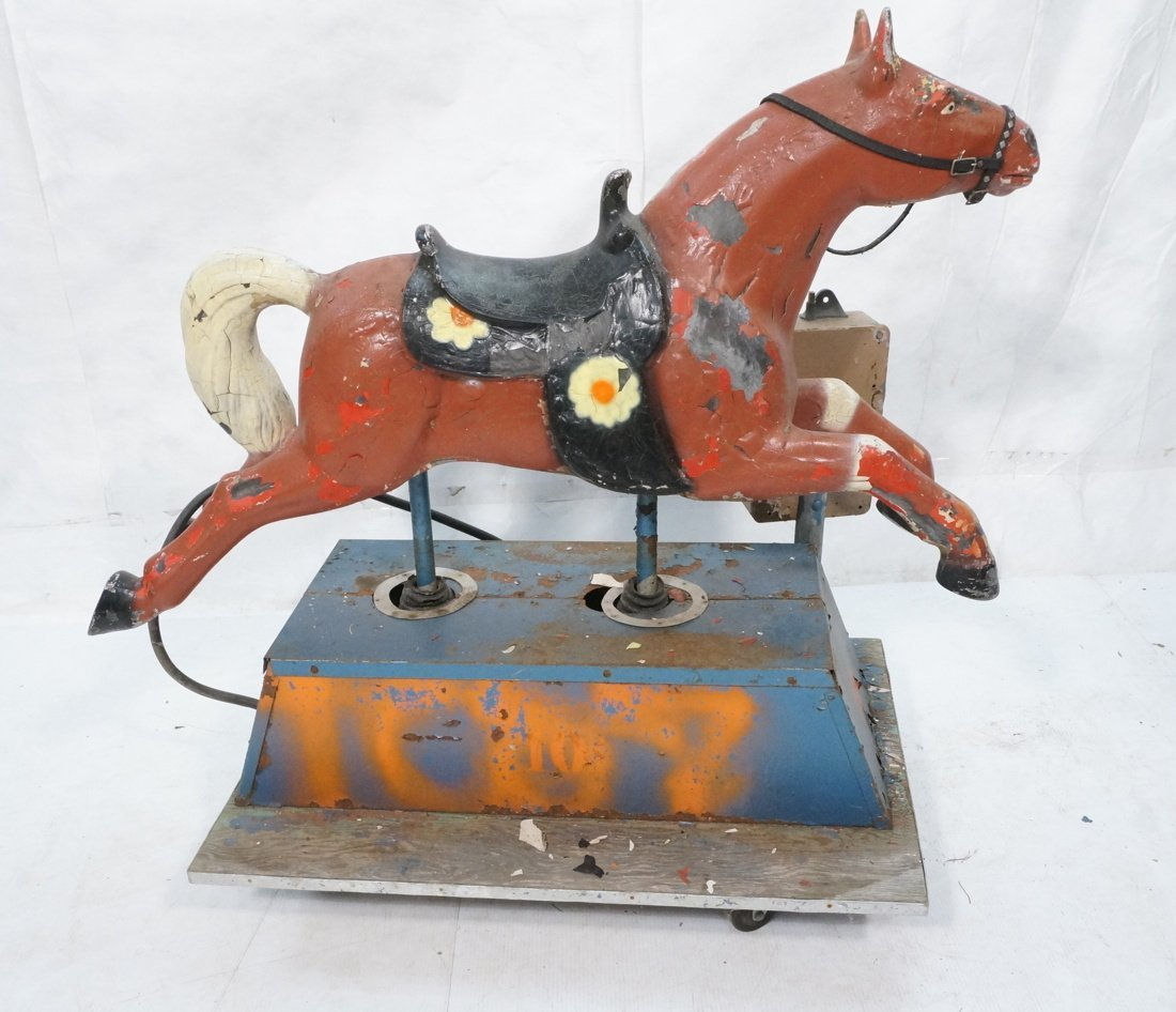 Vintage 10 cent electric riding horse. Horse is m