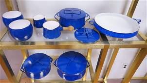 Set Blue Enamel DANSK Kobenstyle Cookware. 3 lidd