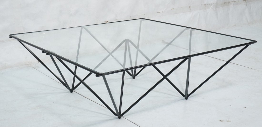 PAOLO PIVA Style Glass U0026 Wire Frame Coffee Table.
