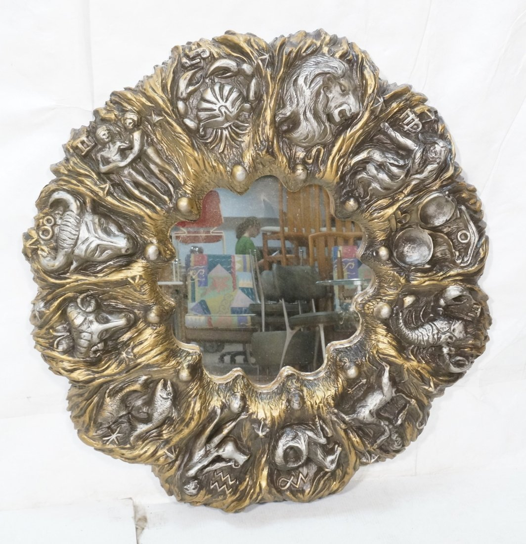 Large Zodiac Wall Hanging Round Mirror. Deep Reli