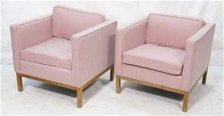 Pair of pink Milo Baughman style lounge chairs wi