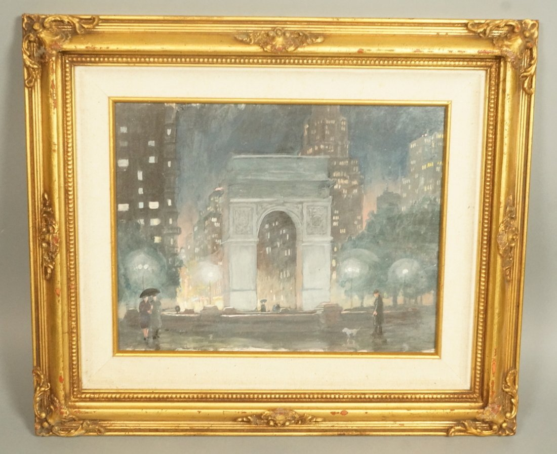 GEORGE RALP.  Oil painting on board.  Street scen