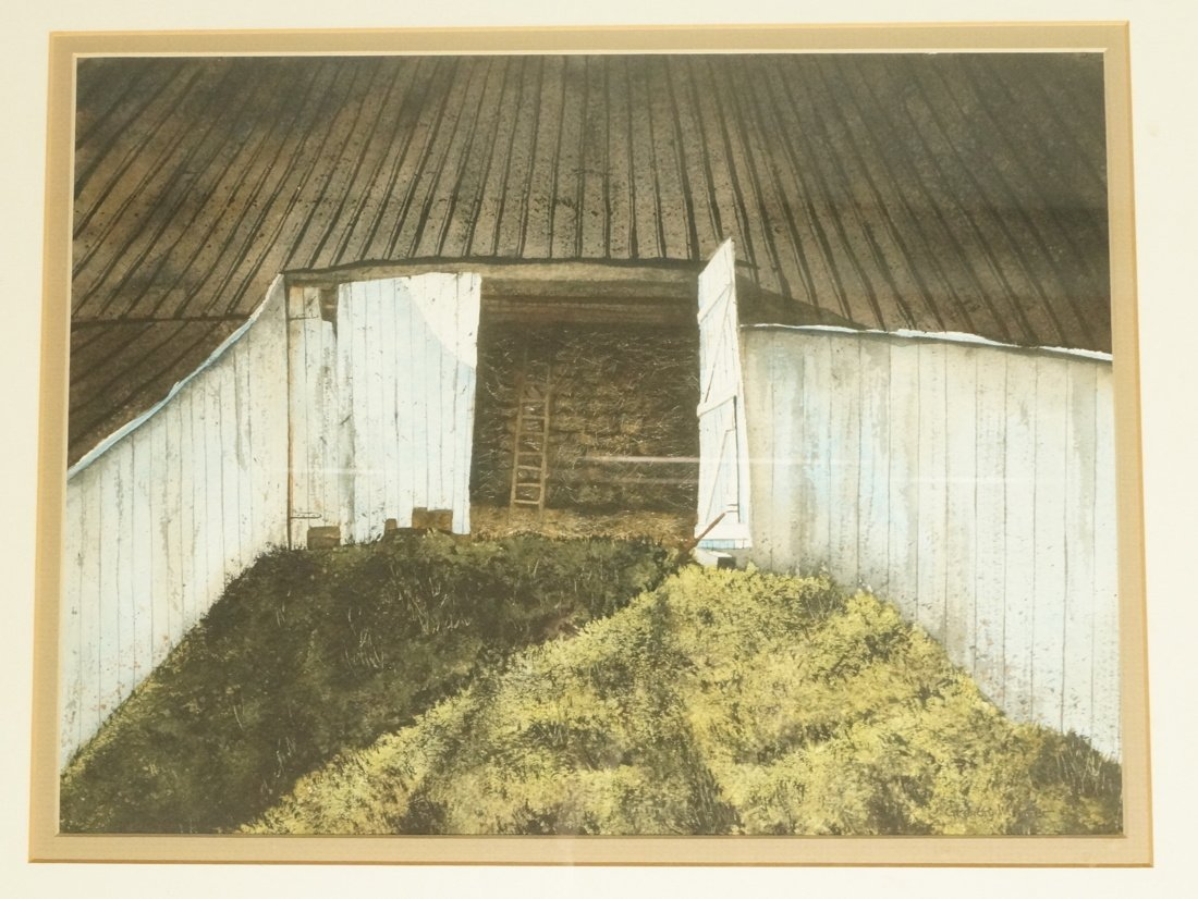GREGORY W.  HAFER.  Watercolor painting of barn.