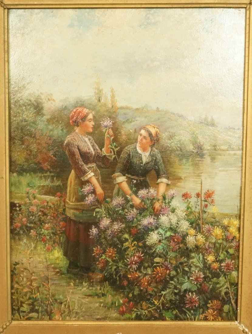 Antique Oil Painting on metal Panel.  Unsigned.