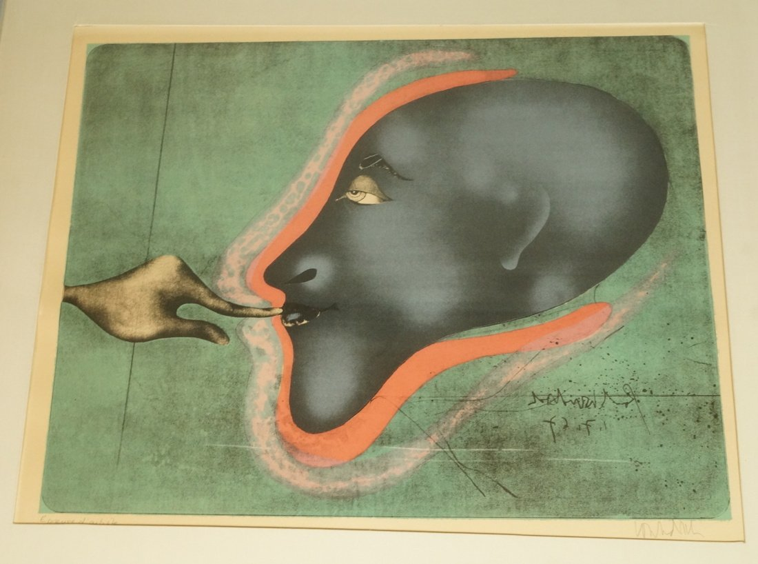 PAUL WUNDERLICH Print under glass. Pencil signed