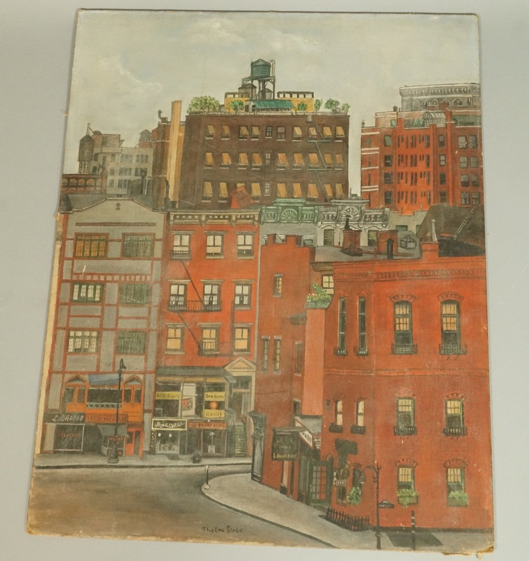 THELMA SLOBE Oil Painting on Board.  Eighth Stree
