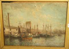 Antique Oil Painting on Metal Panel  Harbor Scen