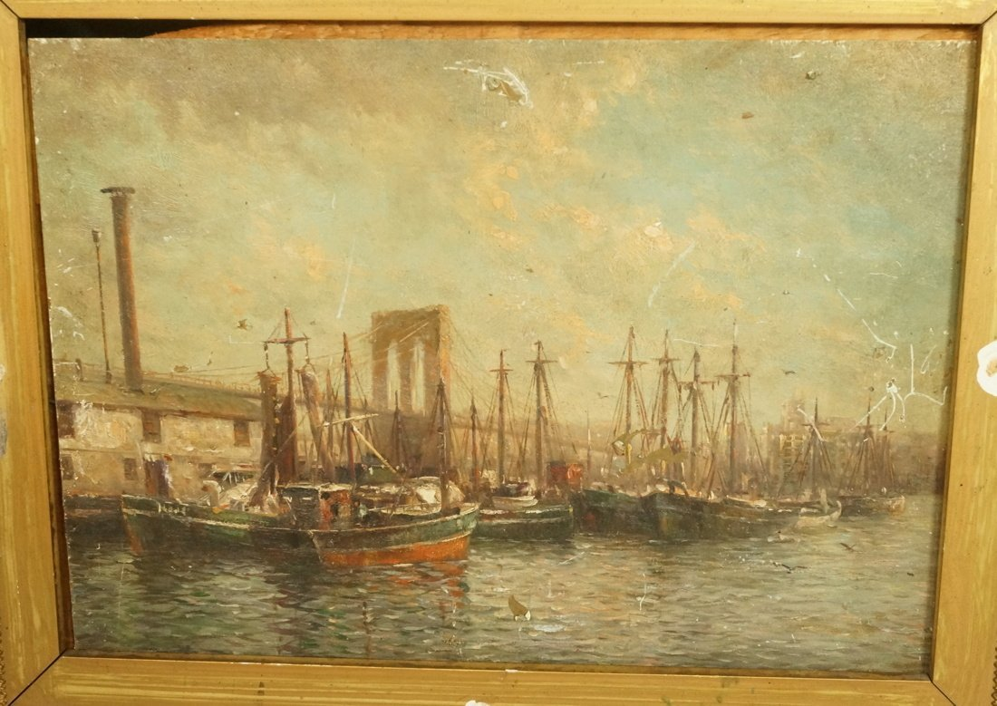 Antique Oil Painting on Metal Panel.  Harbor Scen