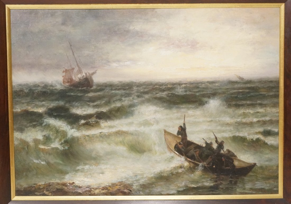 WEBER.  Oil Painting on Canvas.  Rescue of Shipwr