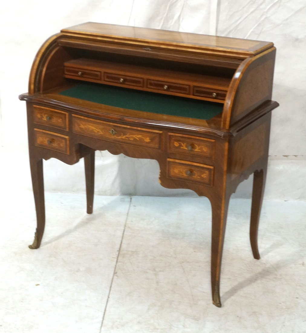 French Style Cylinder Roll Top Desk.  Inlaid flor