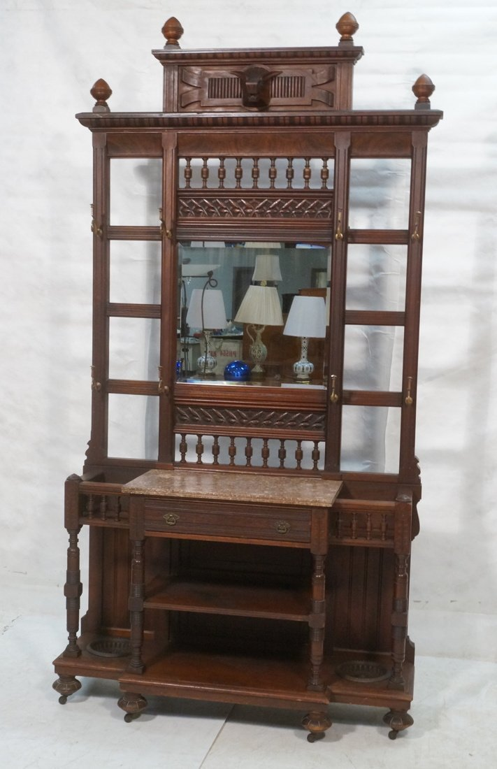 Large Victorian Hall Rack With Mirror Center and