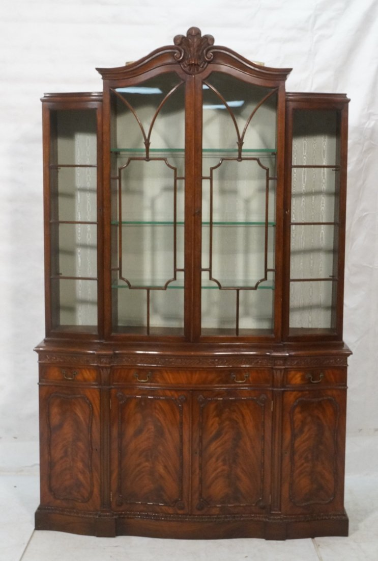 Crotched Mahogany Breakfront China Closet.  Nice