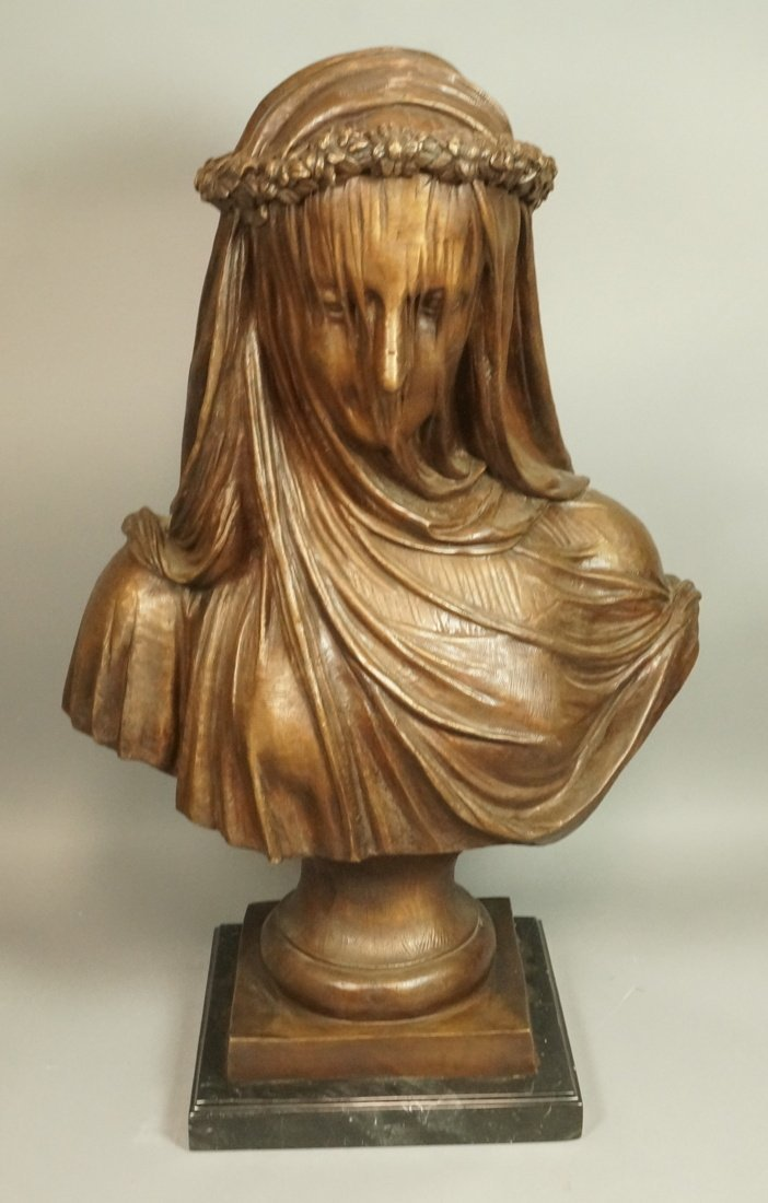 Large Bronze Bust of Woman in Mourning.