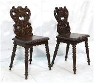 Pair European Style Carved Side Chairs. heavily