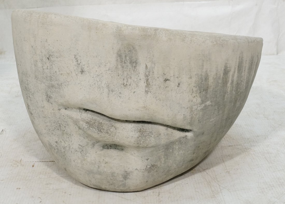 Large Fornasetti Style Face Planter. Concrete. Q