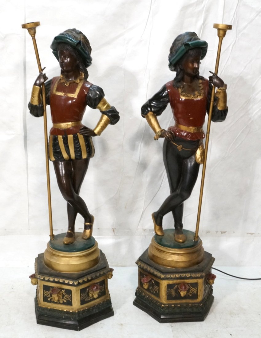 Pair Contemporary Bronze Figural Floor Lamps.  It