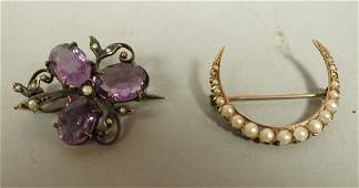 2pcs Victorian Gold Jewelry.  Clover pin and Cres