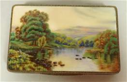 Sterling and Enamel Compact Box. Scenic enamel T