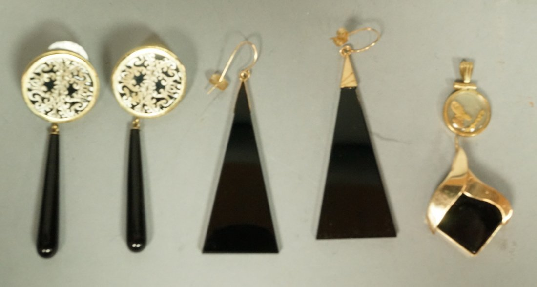 14K Gold Jewelry.  2 Pairs 14K gold and Onyx Earr