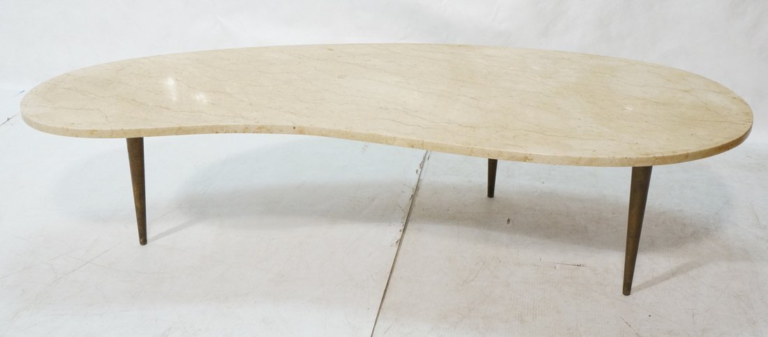 Kidney Shaped Marble Top Modernist Coffee Table.