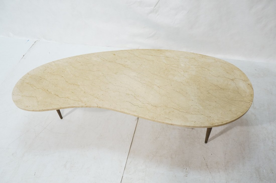 Kidney Shaped Marble Top Modernist Coffee Table. - 2