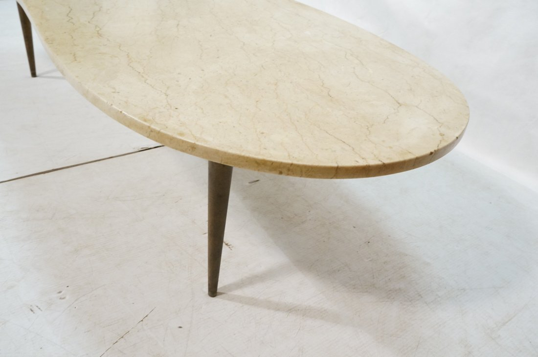 Kidney Shaped Marble Top Modernist Coffee Table. - 3