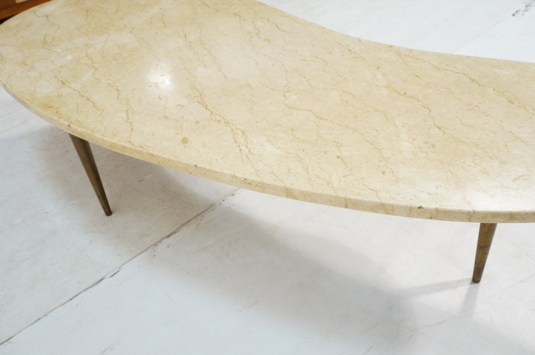 Kidney Shaped Marble Top Modernist Coffee Table. - 5
