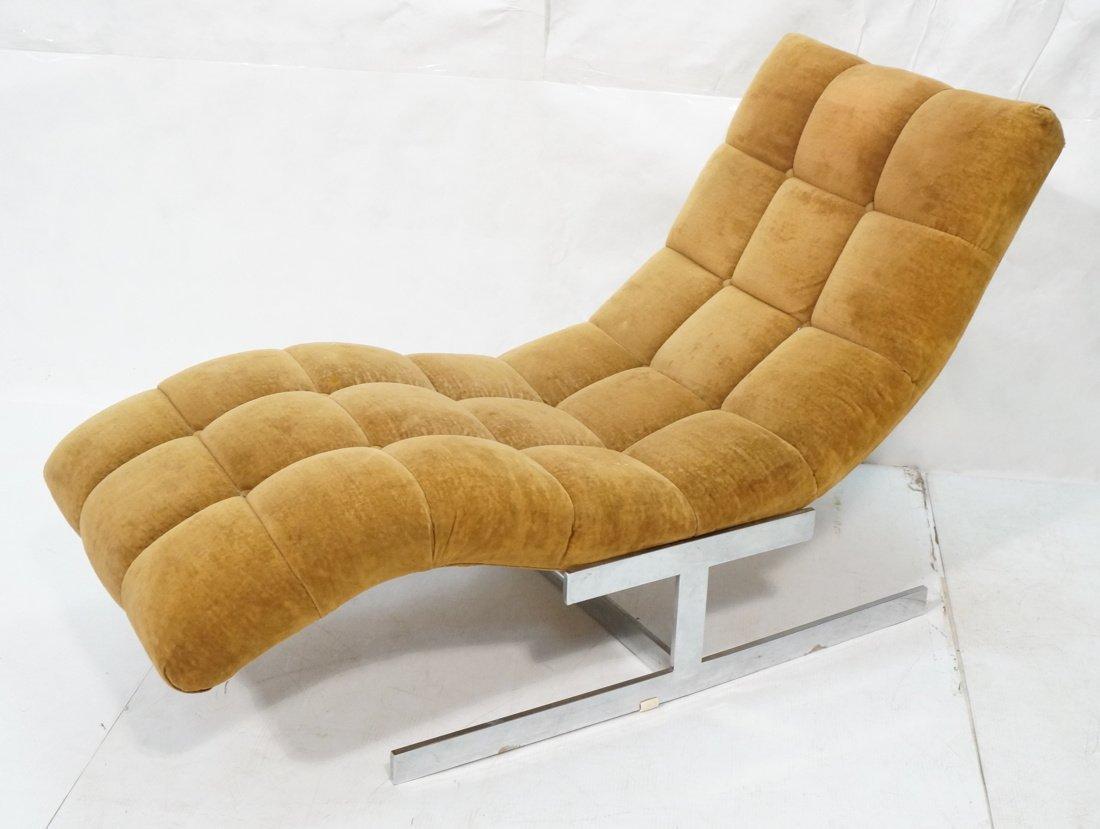 MILO BAUGHMAN style  Tufted Velvet Chaise Lounge.
