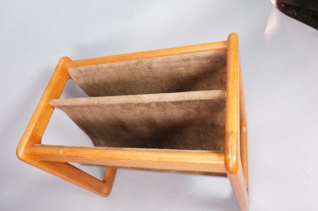 Danish Teak Magazine Rack. Brown suede sling form - 2
