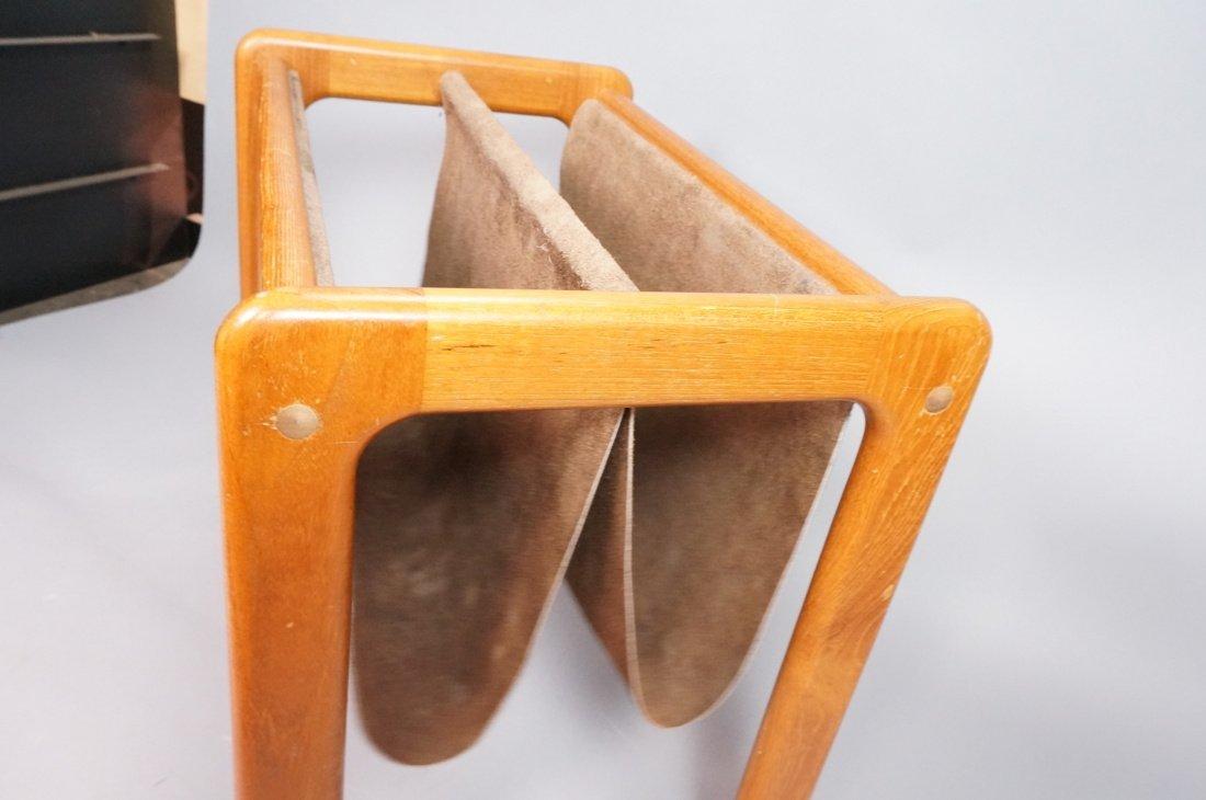 Danish Teak Magazine Rack. Brown suede sling form - 3