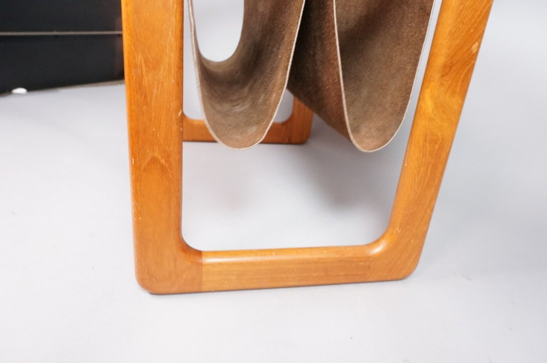 Danish Teak Magazine Rack. Brown suede sling form - 4