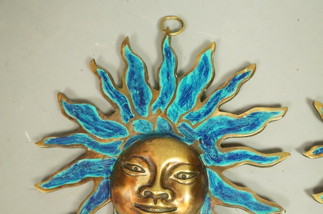 PR PEPE MENDOZA Bronze & Enamel Sun Wall Hangings - 3