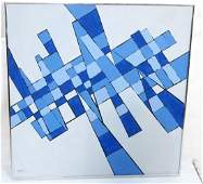 Signed Blue Shades Graphic Abstract Oil Painting