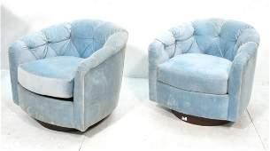 Pr SELIG Monroe Swivel Lounge Chairs Barrel Back