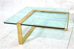 Large Square 70's Modern Coffee Table. Brass fini