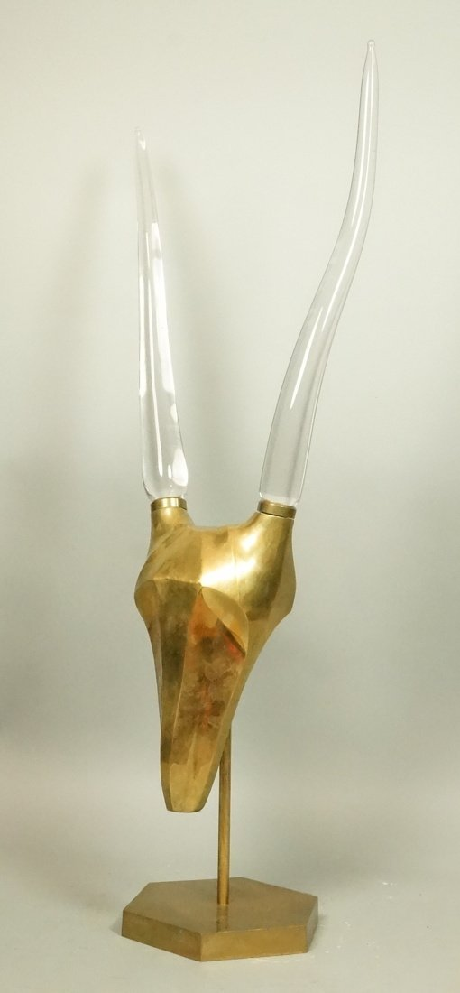 Large Brass Antelope Table Sculpture with Lucite