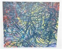 Large Abstract ADAM LODISGRAN?? Oil Painting. Gra