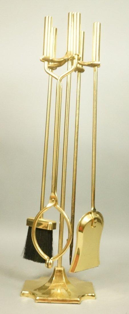 Set Brass Modernist Fireplace Tools.