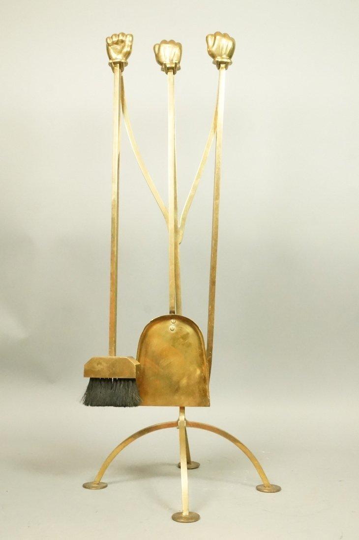 Set Brass Fists Modernist Fireplace Tools.  Squar