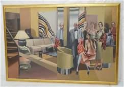JOHN H HOWARD Large Oil Painting Living Room Sce