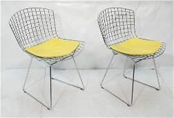 Pr Harry BERTOIA Chromed Steel Side Chairs. KNOLL
