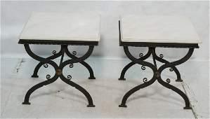 "Pr Iron ""X"" Base Stone Top Side Tables. Brass Acc"