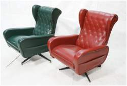 Pr High back Modernist Wing Chair Recliners. One